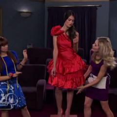 Jessie and Christina working on Diamond's dress.