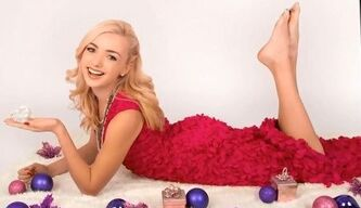 Peyton List Barefoot Lying Down Red Dress