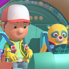 Manny and the tools with Special Agent Oso in the crossover episode, <i>The Manny With The Golden Bear</i>