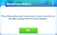 Popup-inventory empty