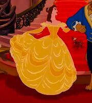 Belle's golden ball gown