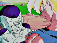 Frieza is stopped by Goku in his new Super Saiyan