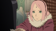 Sakura encourages Hinata to give the scarf to Naruto
