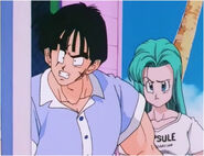 Bulma and Yamcha explain to her about save planet