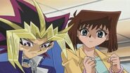 Tea trying to cheer up Yami Yugi