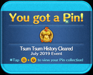 Tsum Tsum History Cleared gold pin GET!