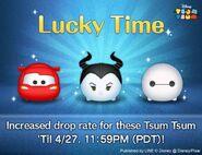 DisneyTsumTsum Lucky Time International LightningMcQueenMaleficentBaymax LineAd 20160425