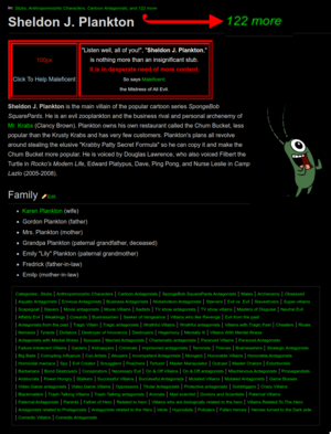 Plankton on Antagonists Wiki with 124 categories 2020-01-29