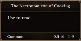 DOS Items Quest The Necronomicon Of Cooking