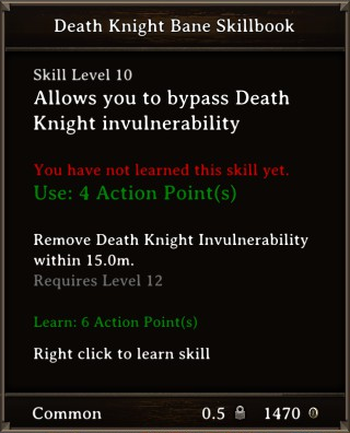 DOS Items Quest Death Knight Bane Skillbook Stats