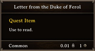 DOS Items Quest Letter from the Duke of Ferol Stats
