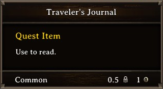 DOS Items Quest Traveler's Journal Stats