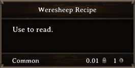 DOS Items Quest Weresheep Recipe