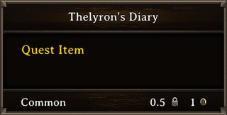 DOS Items Quest Thelyron's Diary Stats