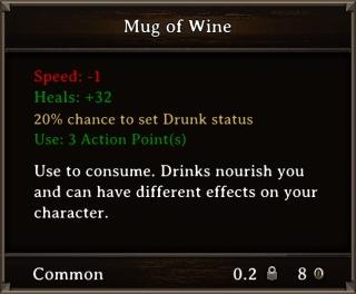 DOS Items Food Mug of Wine Stats