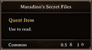 DOS Items Quest Maradino's Secret Files Stats