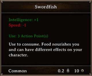 DOS Items Food Swordfish Stats