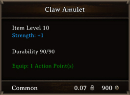 DOS Items CFTX 10.5 Sharp Claw Amulet Bugged