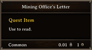 DOS Items Quest Mining Office's Letter Stats