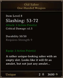 DOS Items Unique Old Sabre