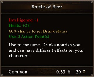 DOS Items Food Bottle of Beer Stats