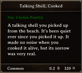 DOS Items FnD Talking Shell, Cooked