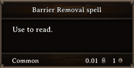 DOS Items Quest Barrier Removal Spell