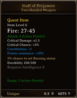DOS Items Unique Staff of Pergamon Stats