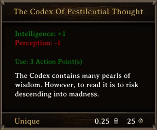 DOS Items Unique The Codex Of Pestilential Thought Stats