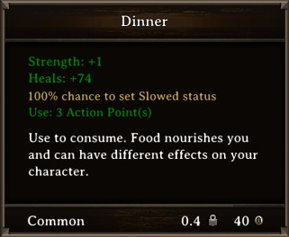 DOS Items Food Dinner Stats