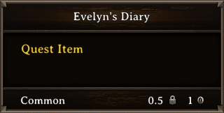 DOS Items Quest Evelyn's Diary Stats