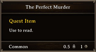 DOS Items Quest The Perfect Murder Stats