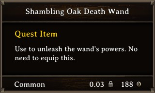 DOS Items Quest Shambling Oak Death Wand Stats