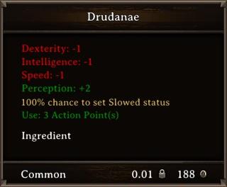 DOS Items Food Drudanae Stats