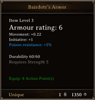 DOS Items Unique Bairdotr's Armor Stats