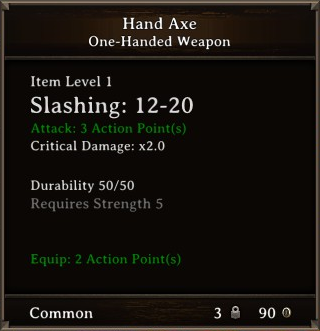 DOS Items Tools Axe Stats