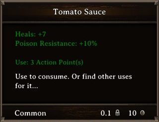 DOS Items Food Tomato Sauce Stats