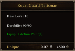 DOS Items Quest Royal Guard Talisman