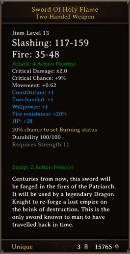 DOS Items Unique Sword Of Holy Flame