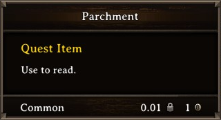 DOS Items Quest Parchment Orc Stats