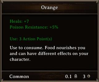 DOS Items Food Orange Stats
