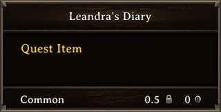 DOS Items Quest Leandra's Diary Stats