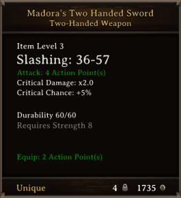 DOS Items Unique Madora's Two Handed Sword