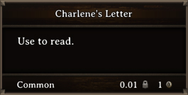 DOS Items Quest Charlene's Letter