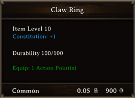 DOS Items CFTX 10.5 Sharp Claw Ring Bugged