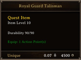 DOS Items Quest Royal Guard Talisman Stats