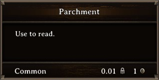 DOS Items Books Parchment Stats