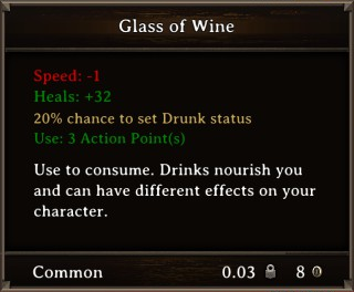 DOS Items Food Glass of Wine Stats