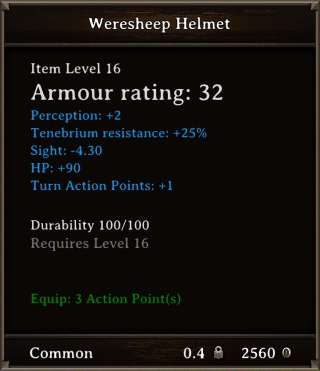 DOS Items Quest Weresheep Helmet Stats