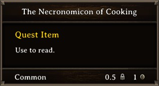 DOS Items Quest The Necronomicon of Cooking Stats